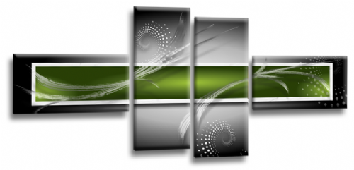 Abstract Canvas Wall Art Print Lime Green Grey White Picture